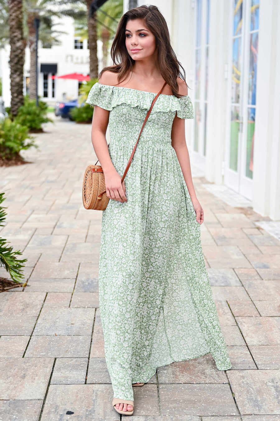 Want You Back Off The Shoulder Maxi Dress - Spring Green womens trendy off the shoulder smocked top side slit maxi dress closet candy side