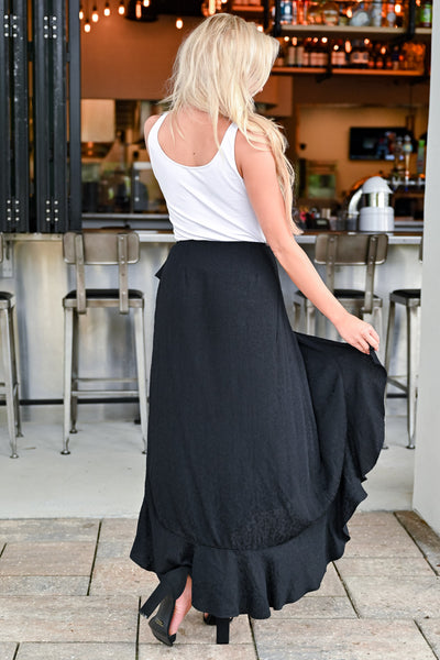 Do a Happy Dance Skirt - Black womens trendy wrap skirt with ruffle detail closet candy back