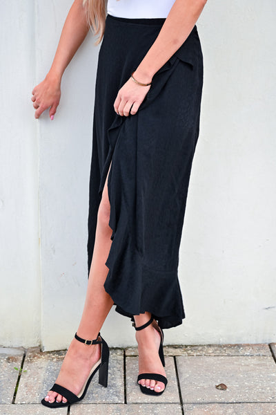 Do a Happy Dance Skirt - Black womens trendy wrap skirt with ruffle detail closet candy front 3