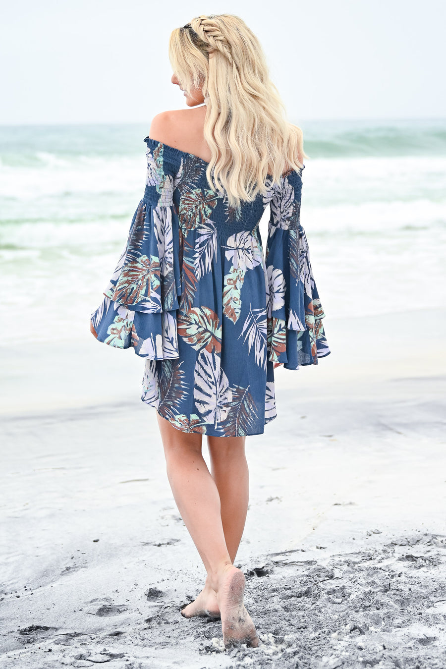 Dancing in the Sun Dress - Denim Blue womens trendy off the shoulder smocked tropical print dress closet candy front