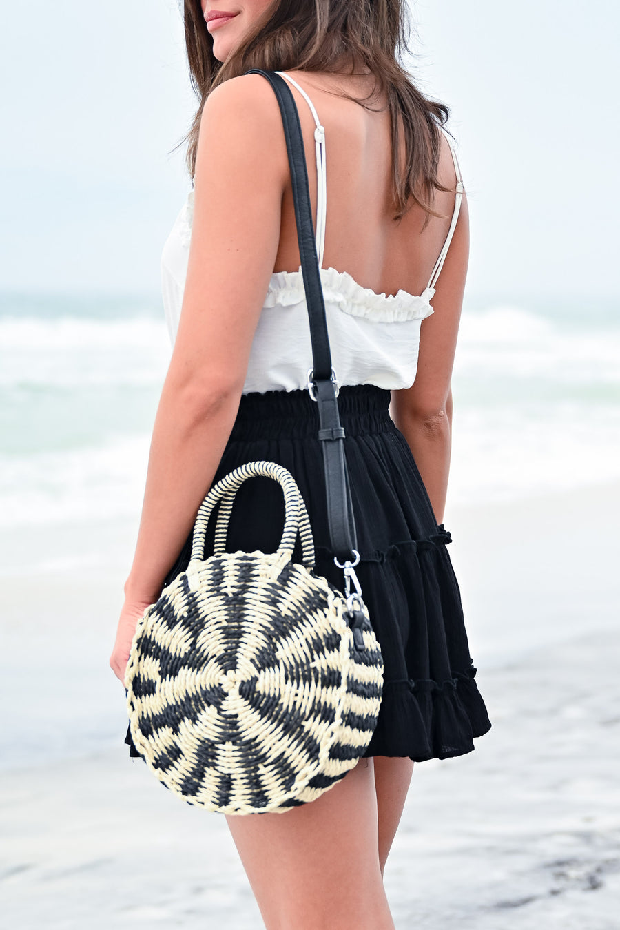 Seaside Round Straw Bag - Black/Cream womens trendy round straw crossbody bag closet candy front
