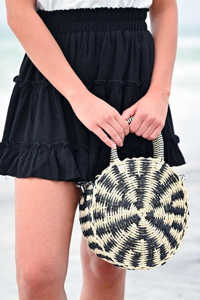 Seaside Round Straw Bag - Black/Cream womens trendy round straw crossbody bag closet candy front 2
