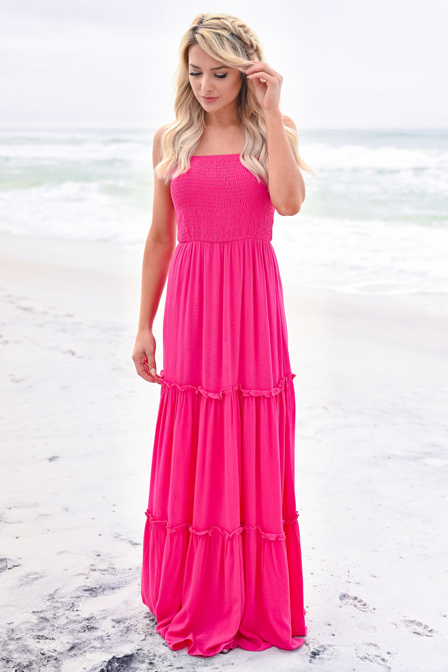 The Way You Love Me Maxi - Fuchsia womens trendy tiered adjustable strap maxi dress closet candy back