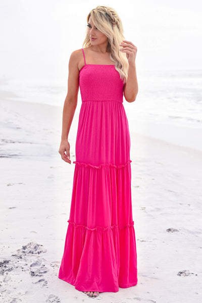 The Way You Love Me Maxi - Fuchsia womens trendy tiered adjustable strap maxi dress closet candy front 2