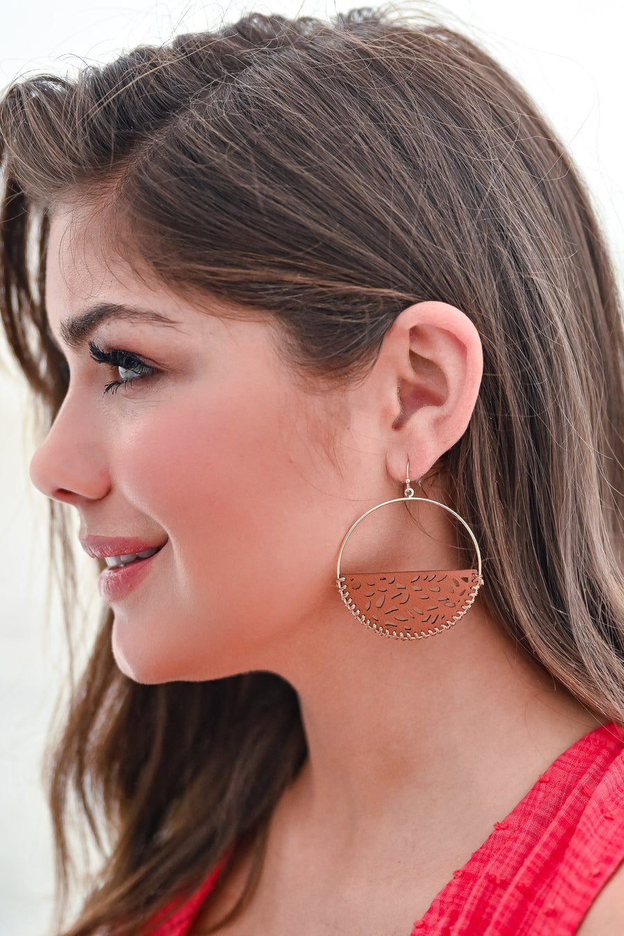 Hidden Treasure Earrings - Brown womens trendy semicircle leather detail earrings closet candy side