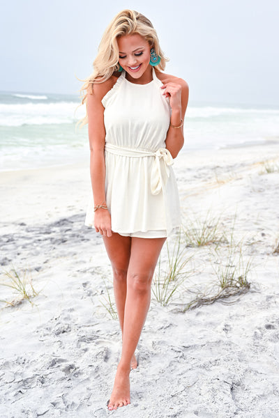 Change of Heart Romper - Off White womens trendy halter neck ruffle detail tie belt romper closet candy front