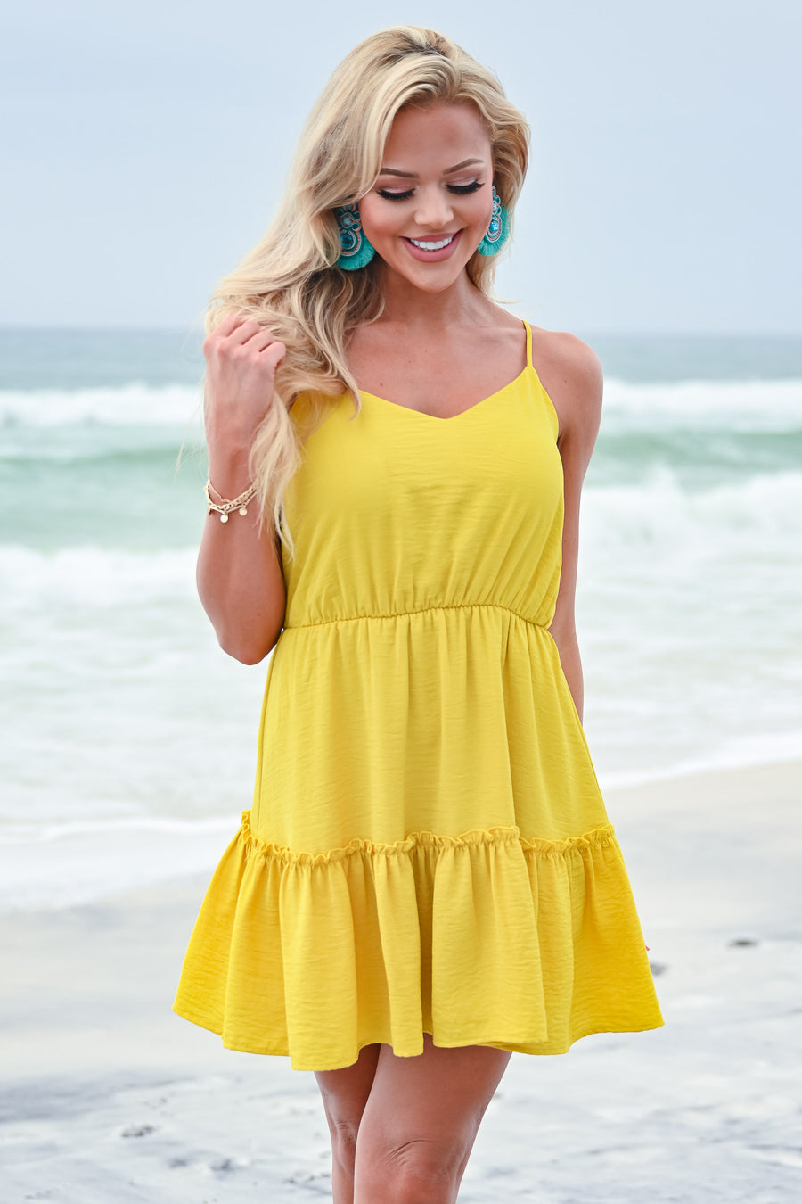 EVERLY Back To The Beach Dress - Sunshine yellow v-neckline adjustable spaghetti straps ruffle trim midi dress closet candy side