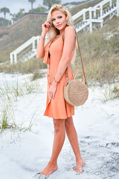 Drinks On The Beach Dress - Burnt Orange womens trendy button down tie front dress closet candy side