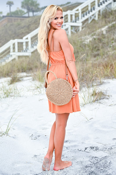 Drinks On The Beach Dress - Burnt Orange womens trendy button down tie front dress closet candy back