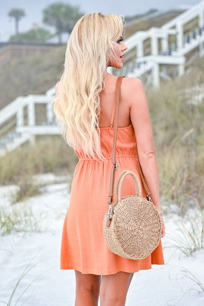 Seaside Round Straw Bag - Camel womens casual round straw bag closet candy back