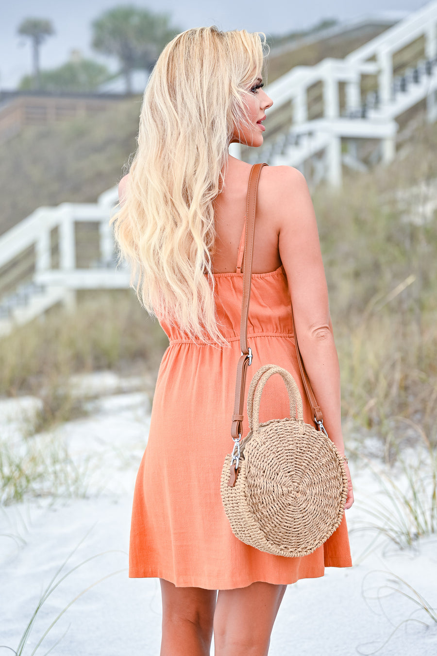 Drinks On The Beach Dress - Burnt Orange womens trendy button down tie front dress closet candy front