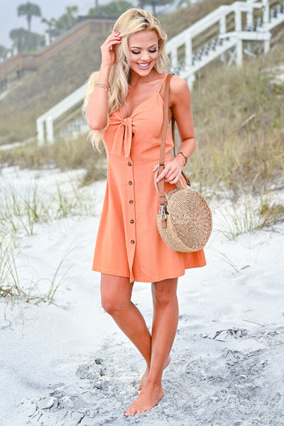 Drinks On The Beach Dress - Burnt Orange womens trendy button down tie front dress closet candy front 2