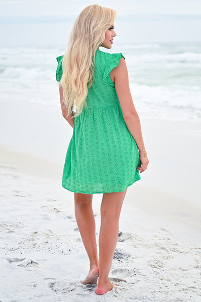 Good Vibrations Baby Doll Dress - Kelly Green womens trendy ruffle sleeve eyelet dress closet candy back