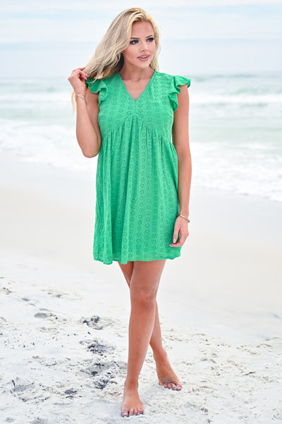 Good Vibrations Baby Doll Dress - Kelly Green womens trendy ruffle sleeve eyelet dress closet candy front
