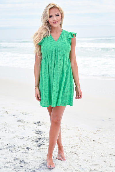 Good Vibrations Baby Doll Dress - Kelly Green womens trendy ruffle sleeve eyelet dress closet candy front 3
