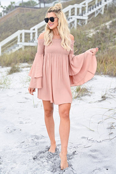 Dancing In The Sun Dress - Dusty Rose womens trendy off the shoulder flared sleeve dress closet candy front