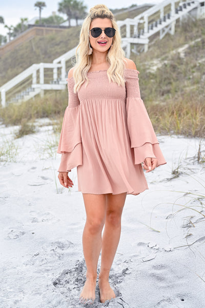Dancing In The Sun Dress - Dusty Rose womens trendy off the shoulder flared sleeve dress closet candy front 2