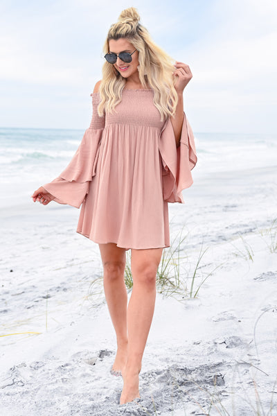 Dancing In The Sun Dress - Dusty Rose womens trendy off the shoulder flared sleeve dress closet candy front 3