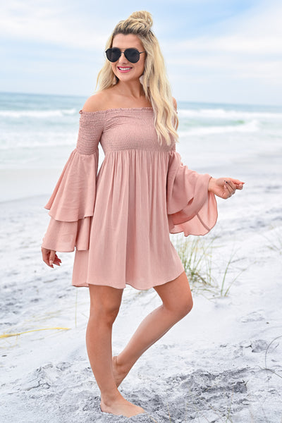 Dancing In The Sun Dress - Dusty Rose womens trendy off the shoulder flared sleeve dress closet candy side