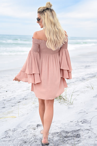 Dancing In The Sun Dress - Dusty Rose womens trendy off the shoulder flared sleeve dress closet candy back