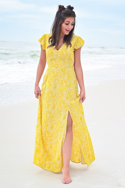 Paradise Found Maxi Dress - Sunshine womens trendy cap ruffle sleeve floral print maxi dress hannah ann closet candy front 2