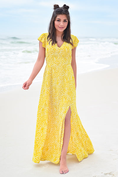 Paradise Found Maxi Dress - Sunshine womens trendy cap ruffle sleeve floral print maxi dress hannah ann closet candy front