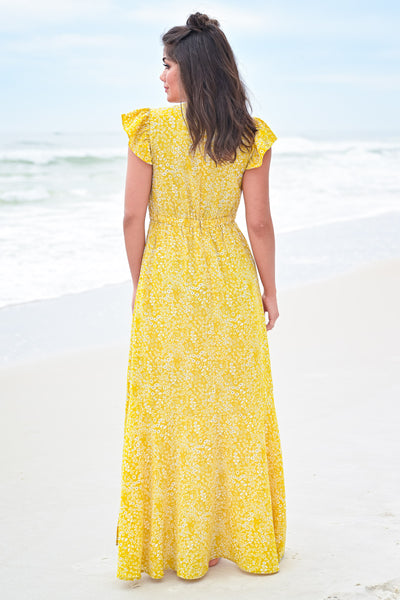 Paradise Found Maxi Dress - Sunshine womens trendy cap ruffle sleeve floral print maxi dress hannah ann closet candy back