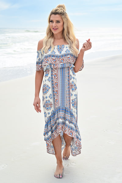 Seaside Memories Maxi Dress - Ivory Multi womens trendy high low off the shoulder maxi dress closet candy front