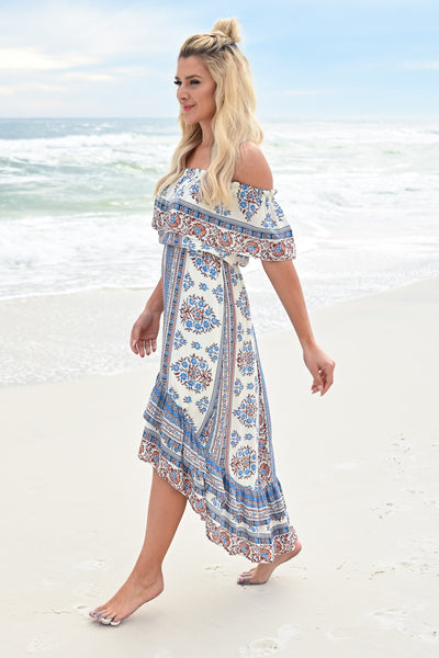 Seaside Memories Maxi Dress - Ivory Multi womens trendy high low off the shoulder maxi dress closet candy side 2