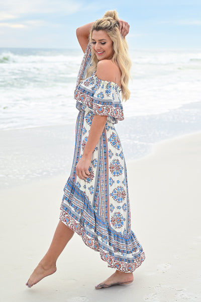 Seaside Memories Maxi Dress - Ivory Multi womens trendy high low off the shoulder maxi dress closet candy side