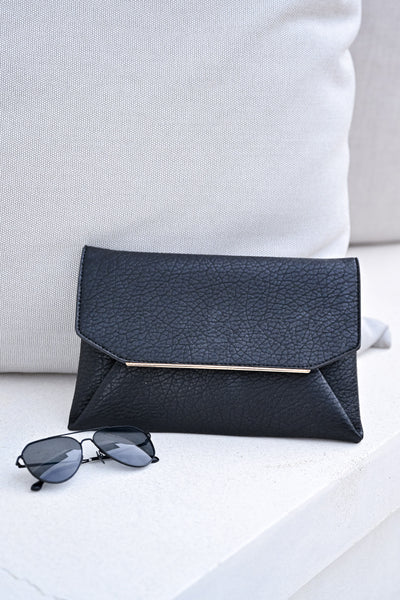 Sealed For Good Clutch - Black womens trendy pebbled envelope clutch closet candy front