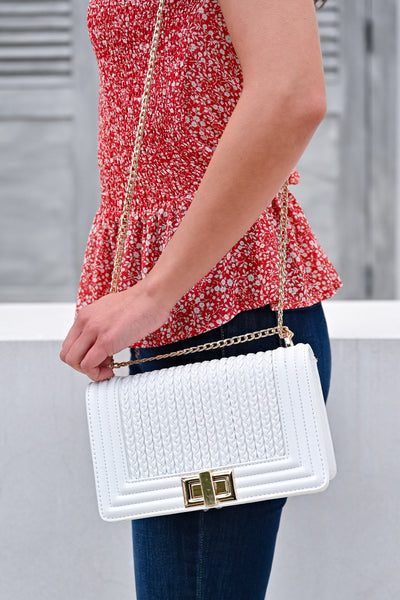 Josie Crossbody Purse - White womens trendy braided detail crossbody purse closet candy side 3