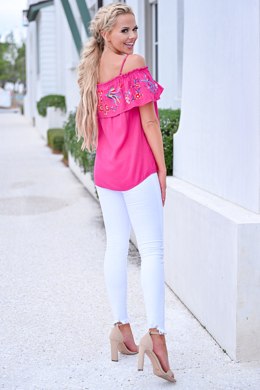 Summer Party Top - Hot Pink womens trendy off the shoulder embroidered top closet candy front