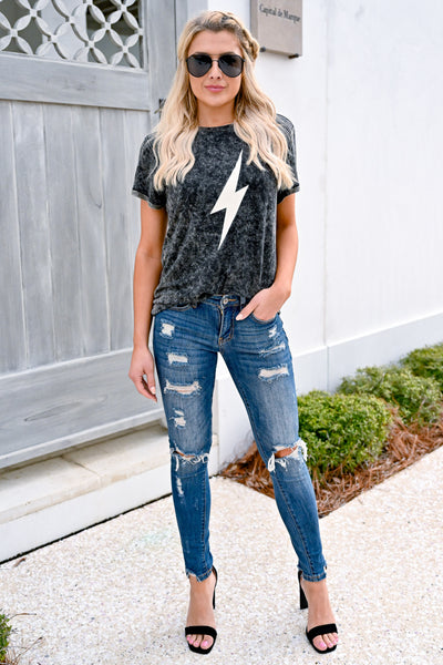 When Lightning Strikes Graphic Tee - Vintage Charcoal womens casual short sleeve lighting bolt graphic tee closet candy front 2