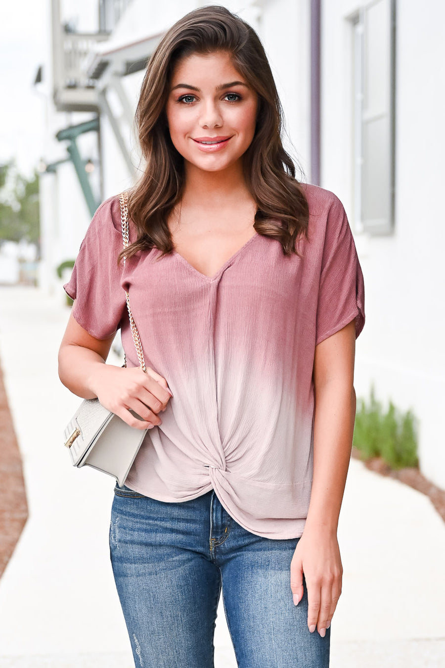 Pink Sky in the Evening Top - Dusty Rose womens trendy knotted front top closet candy front hannah ann