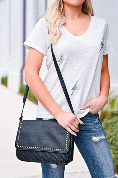 Cassie Crossbody Purse - Black womens trendy studded detail crossbody purse closet candy front