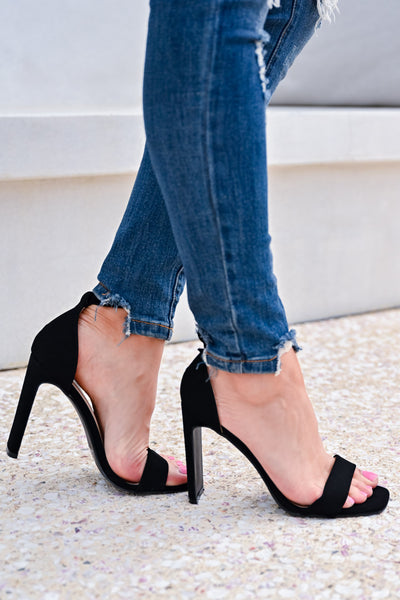 Love Sick Block Heels - Black womens trendy ankle strap block heels closet candy side