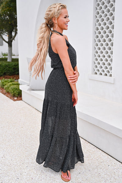 When The Sun Goes Down Maxi Dress - Black womens trendy halter neck maxi dress closet candy side