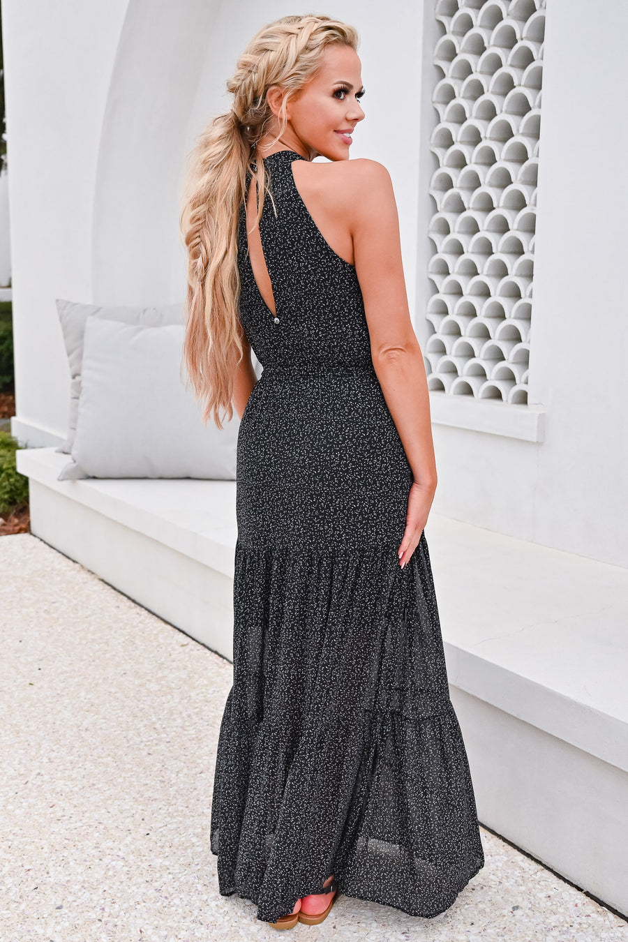 When The Sun Goes Down Maxi Dress - Black womens trendy halter neck maxi dress closet candy front