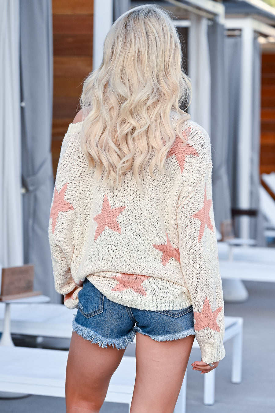 Wishes Fulfilled Star Sweater - Peachy womens trendy off the shoulder oversized sweater closet candy front