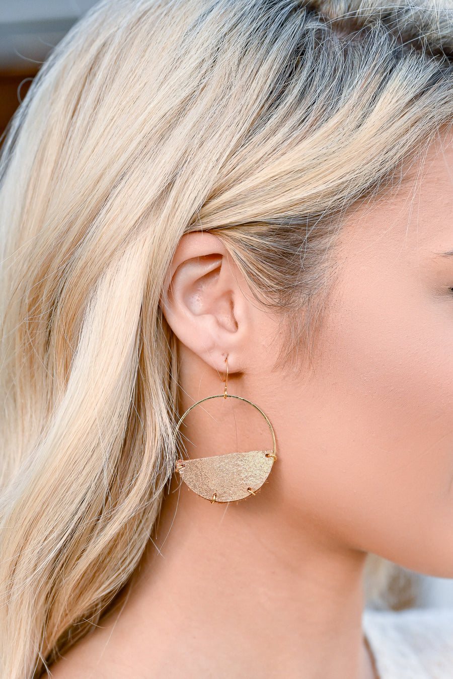Keeping It Fun Earrings - Gold Glimmer womens trendy half circle dangle earrings closet candy side