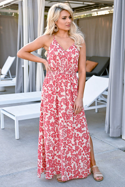 Celebrate The Season Maxi Dress - Coral Red womens trendy button front printed maxi closet candy front 2