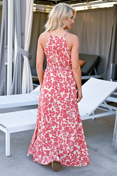 Celebrate The Season Maxi Dress - Coral Red womens trendy button front printed maxi closet candy back