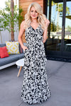 Celebrate The Season Maxi Dress - Black womens trendy printed black maxi dress closet candy front 2
