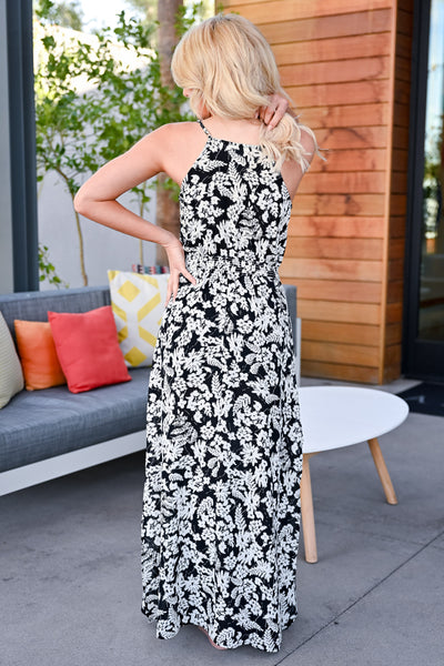 Celebrate The Season Maxi Dress - Black womens trendy printed black maxi dress closet candy back