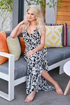 Celebrate The Season Maxi Dress - Black womens trendy printed black maxi dress closet candy sitting