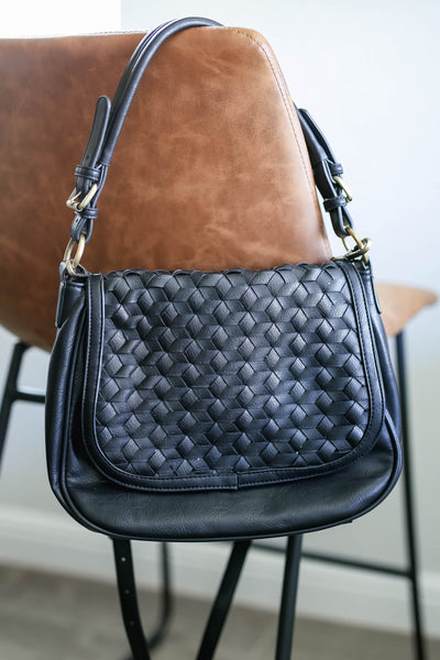 Everything In It's Place Woven Saddle Bag - Black closet candy women's trendy woven design purse 1