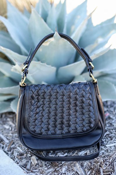Everything In It's Place Woven Saddle Bag - Black closet candy women's trendy woven design purse 6