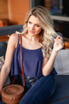 Pick Me Up At 8 Bodysuit - Navy closet candy women's trendy fringe detail overlay sleeveless bodysuit sitting