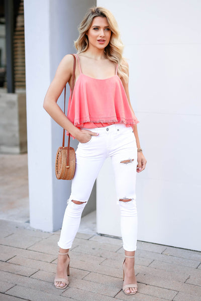 Pick Me Up At 8 Bodysuit - Coral closet candy women's trendy ruffle overlay sleeveless bodysuit front